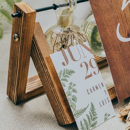 tarjeta de agradecimiento, invitaciones de boda madera, invitaciones de boda helechos, invitaciones de boda originales