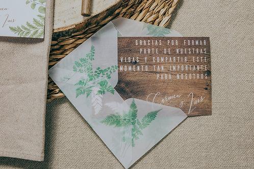 tarjeta agradecimiento con sobre, invitaciones de boda madera, invitaciones de boda helechos, invitaciones de boda originales