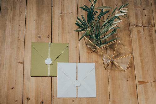 invitaciones de boda modernas, invitaciones de olivos, invitaciones de boda con olivos, invitaciones cuadradas, lacre de cera
