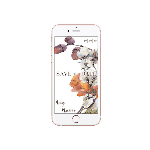 save the date digital, invitaciones de boda otoño, invitaciones de boda algodon, invitaciones flores secas