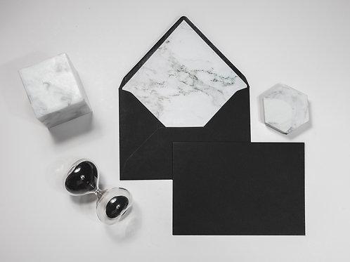 sobre forrado negro, invitaciones de boda marmol, invitaciones de boda geométricas, invitaciones de boda modernas