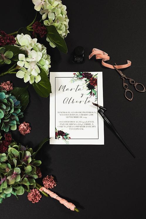 Invitaciones de boda burdeos, Invitacion de boda con flores granate, invitaciones de boda granate, invitación de boda granate