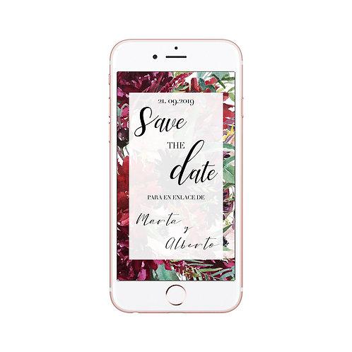 Invitaciones de boda burdeos, Invitaciones de boda con flores granate, save the date digital, Invitaciones de boda granate