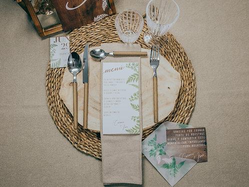 minutas boda, invitaciones de boda madera, invitaciones de boda helechos, invitaciones de boda originales