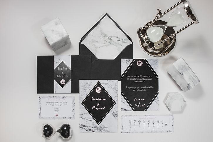 Invitaciones de boda originales diseño mármol