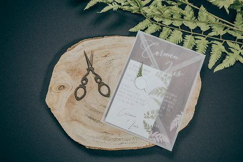 sobre papel vegetal, invitaciones de boda madera, invitaciones de boda helechos, invitaciones de boda originales
