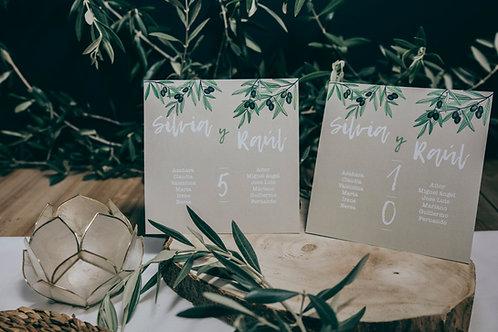 invitaciones de boda modernas, invitaciones de olivos, invitaciones de boda con olivos, invitaciones cuadradas, seating plan