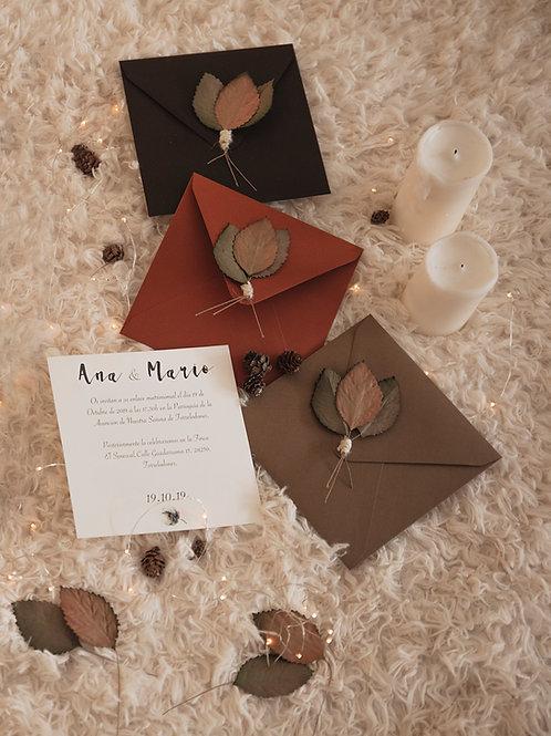 invitaciones de boda otoñales, invitaciones de boda otoño, invitaciones de boda algodon, invitaciones flores secas