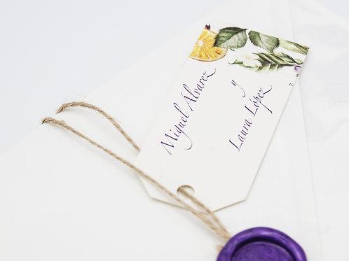 invitaciones con lavandas, invitaciones tela de saco, invitaciones de boda naranjas, etiquetas personalizadas
