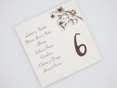 invitaciones de boda otoñales, invitaciones de boda otoño, invitaciones de boda algodon, seating plan boda