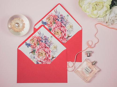 invitaciones de boda peonias, invitaciones papel vegetal, invitaciones papel cebolla, sobre forrado rosa