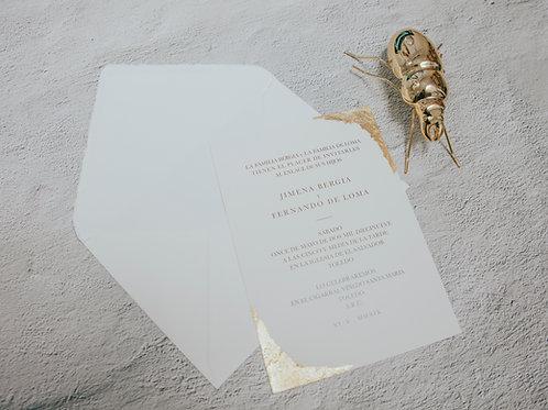Sobre papel hecho a mano sin pan de oro Roma