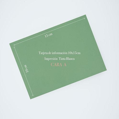 Tarjeta de información papel de color con tinta blanca