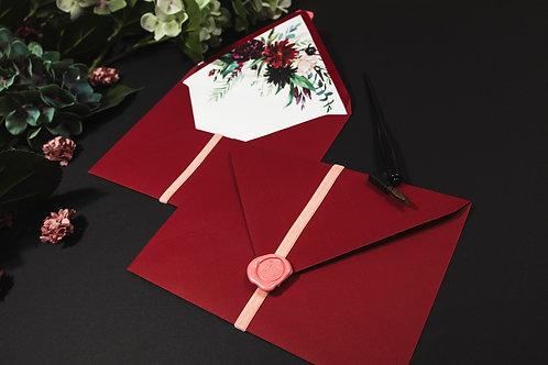 Invitaciones de boda burdeos, Invitaciones de boda con flores granate, lacre de cera rosa, invitación de boda granate