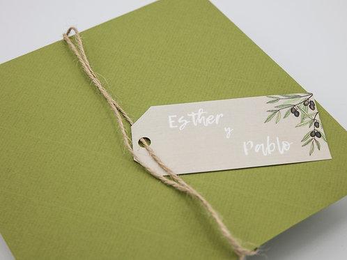 invitaciones de boda modernas, invitaciones de olivos, invitaciones de boda con olivos, invitaciones cuadradas, etiquetas