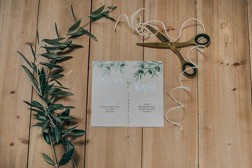 invitaciones de boda modernas, invitaciones de olivos, invitaciones de boda con olivos, invitaciones cuadradas