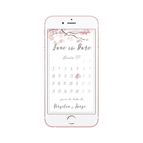 save the date digital, invitaciones de boda cerezo, invitaciones flor de cerezo, invitaciones de boda rosa