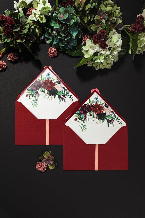 Invitaciones de boda burdeos, Invitaciones de boda con flores granate, sobre granate forrado, sobre forrado burdeos