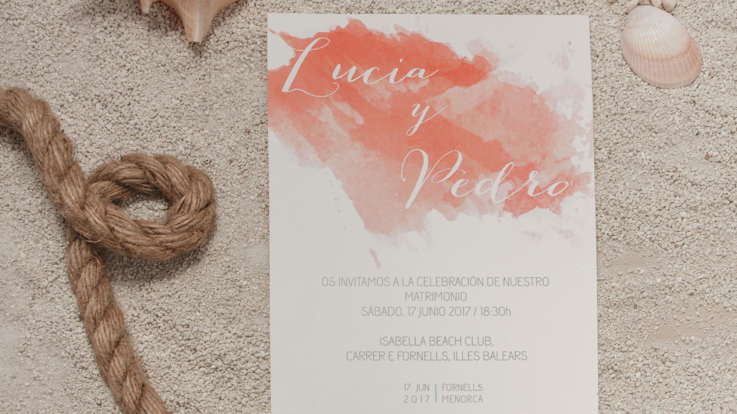 Invitaciones de boda originales, Invitaciones de boda coral, Invitaciones de boda acuarela, Invitaciones de boda turquesa, Invitaciones de boda marineras
