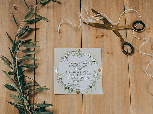 invitaciones modernas, invitaciones de olivos, invitaciones de boda olivos, invitaciones cuadradas, tarjeta de informacion