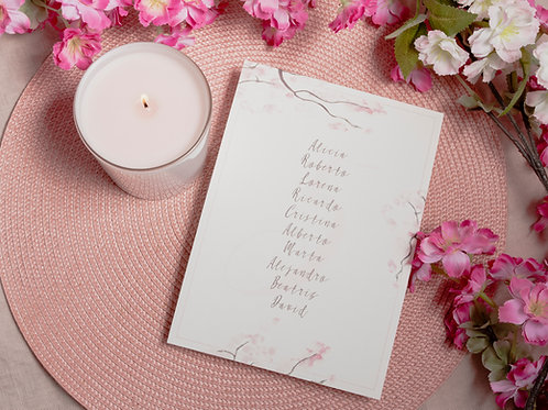 invitaciones de boda cerezo, invitaciones flor de cerezo, invitaciones de boda rosa, seating plan