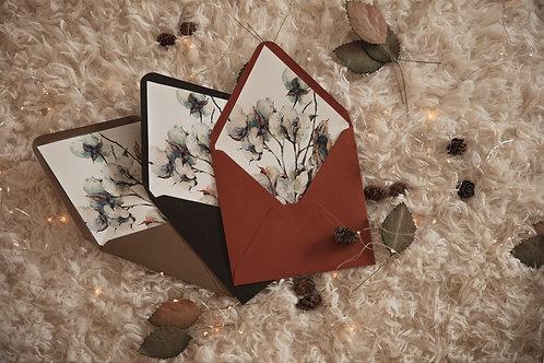 sobre marrón, sobre color teja, invitaciones de boda otoño, invitaciones de boda algodon, invitaciones flores secas