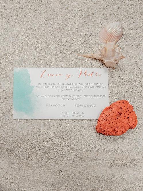 invitaciones de boda playa, invitaciones de boda acuarela, invitaciones color coral, invitaciones de boda color turquesa