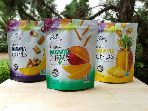A variety mix of Mango Sticks, Banana Curls, and Pineapple Chips (a pack of 6)