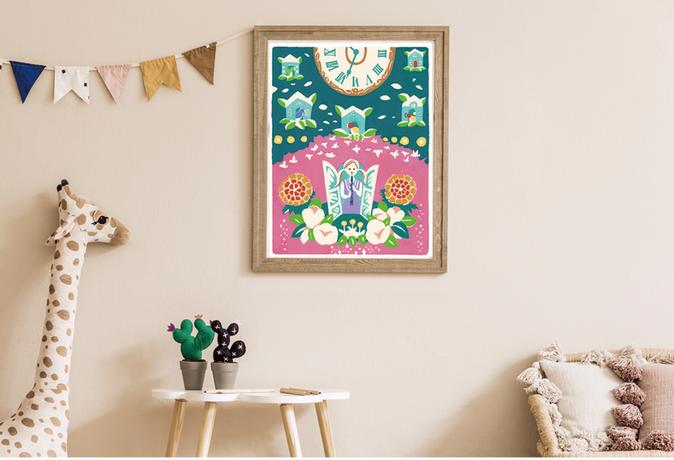 子供部屋に飾りたいというご希望で、 お部屋が明るくなるようなにぎやかなイラストをお描きしました。