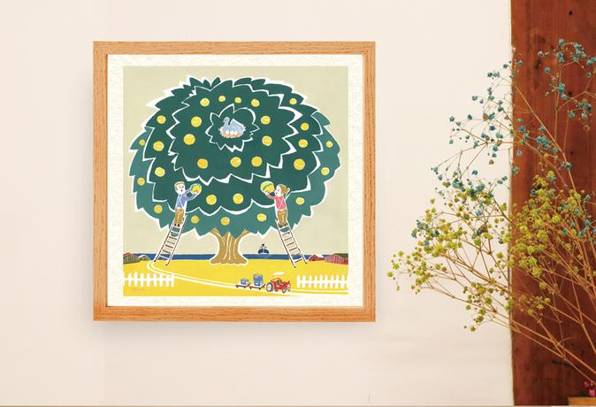 ご依頼者様のご実家が果実農園ということで、 実りの多いカラフルなイメージに描き上げました。