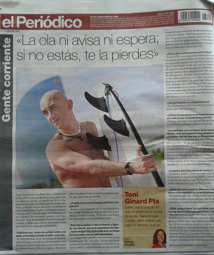 """Entrevista a Toni Ginard en """"El Periódico"""", primeros surfers de Barcelona"""
