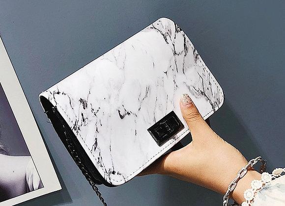 2020 New Marble Pattern Shoulder Bag Lock Buckle Chain White Designer Handbags