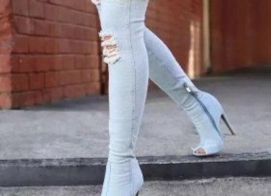 Jeans Hot Fashion Women Boots High Heels