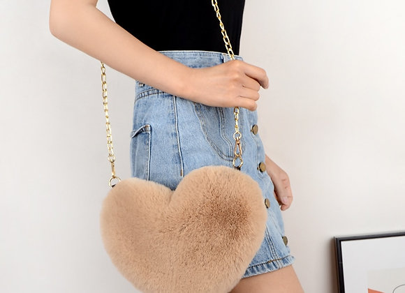 New Fur Love Purse Heart Bag Chained Bag Fashion love