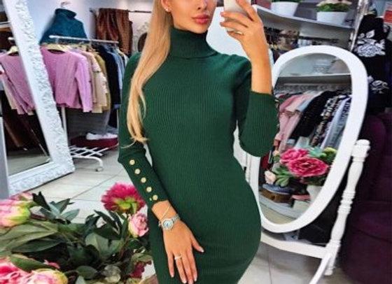 Women Winter dress turtleneck sweater