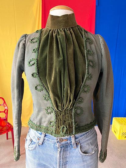 1890s moss velvet jacket // sz 6