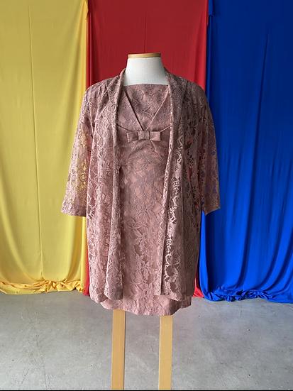 60s dusty brown lace 2 pc dress + coat // sz 14