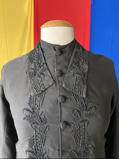 1910s black beaded jacket // sz 6