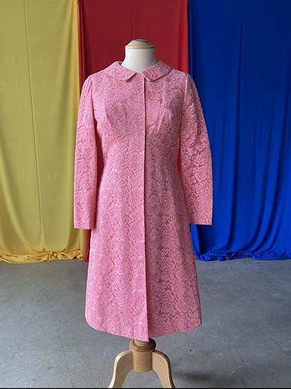60s bubble gum lace 2 pc dress suit // sz 4