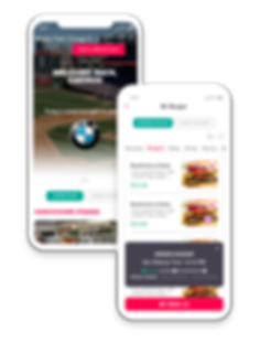 FanFood app welcome and menu screen