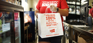 FanFood branded bags being used at sports games at Owasso High School.