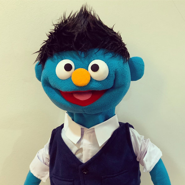 Pubbet 2: Sam Puppet with white collared shirt and blue vest