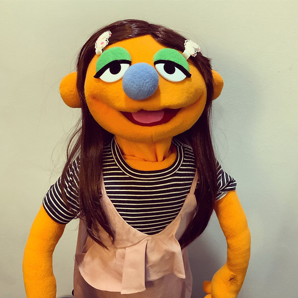 Pubbet 4: Emily Hand Puppet with Striped Shirt & Pink Dress