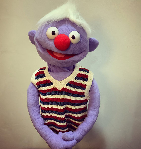 Pubbet 9: Simon Hand Puppet with Crocheted Vest Outfit