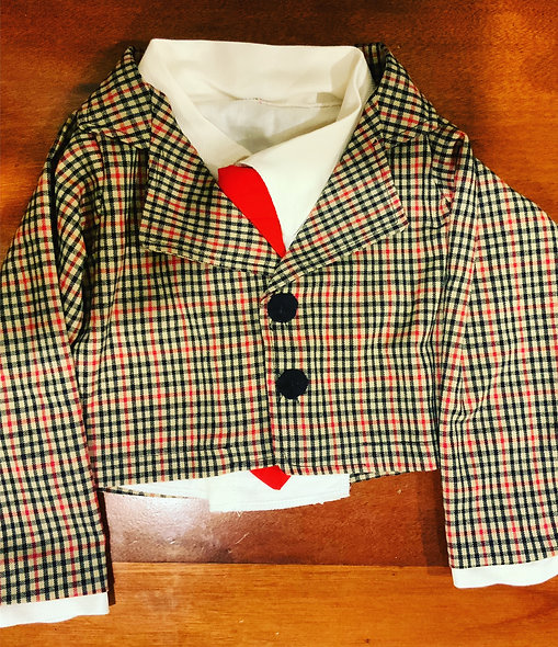 Pubbet Outfit 2 - Brown Plaid Suit, Tie & White Collared Shirt