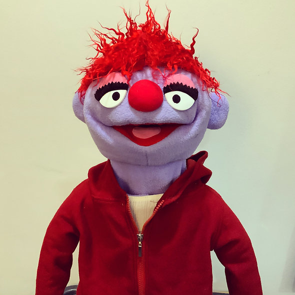 Pubbet 26: Sarah Hand Puppet with Maroon Hoodie and T-Shirt