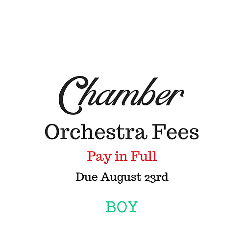 Chamber Orchestra Activity Fees BOY 2019-2020 School Year