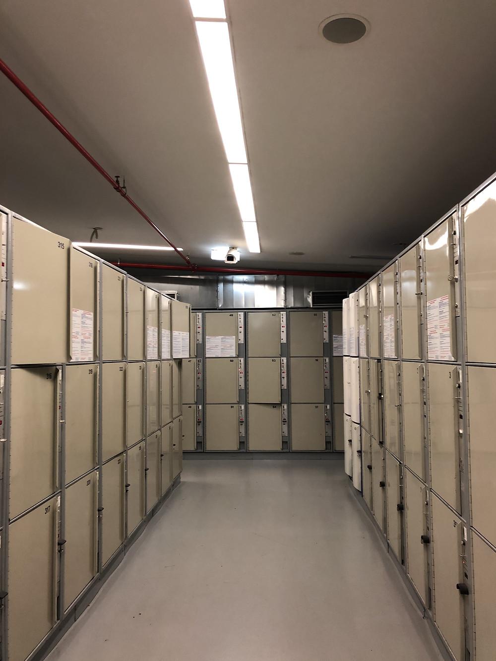 Rented lockers in Prague Central Station (Praha Hlavní Nádraží)