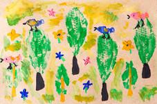 """Отпечатки листьев на видеоуроке для детей в Монтессори-студии """"Апрель"""""""