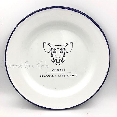 Enamel Plate Cow | Pig